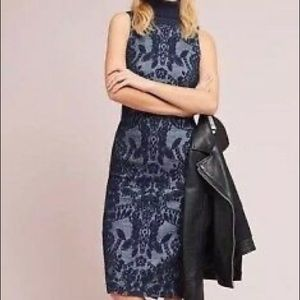 Anthropologie Maeve jacquard turtleneck dress sz 6